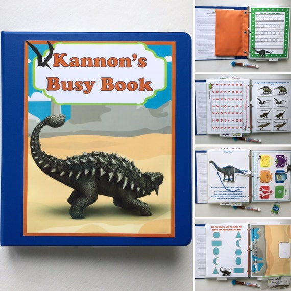 Dinosaur Personalized Busy Book Quiet Book Dry Erase Velcro
