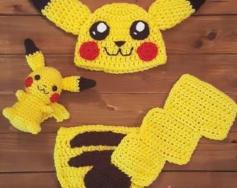 Baby Pikachu newborn photo prop, Halloween costume or Christmas gift