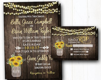 Sunflowers Wedding Invitation - Rustic Summer Wedding Invitation - Barn Wedding String Lights & Wood - Country Wedding Invitation BUNDLE