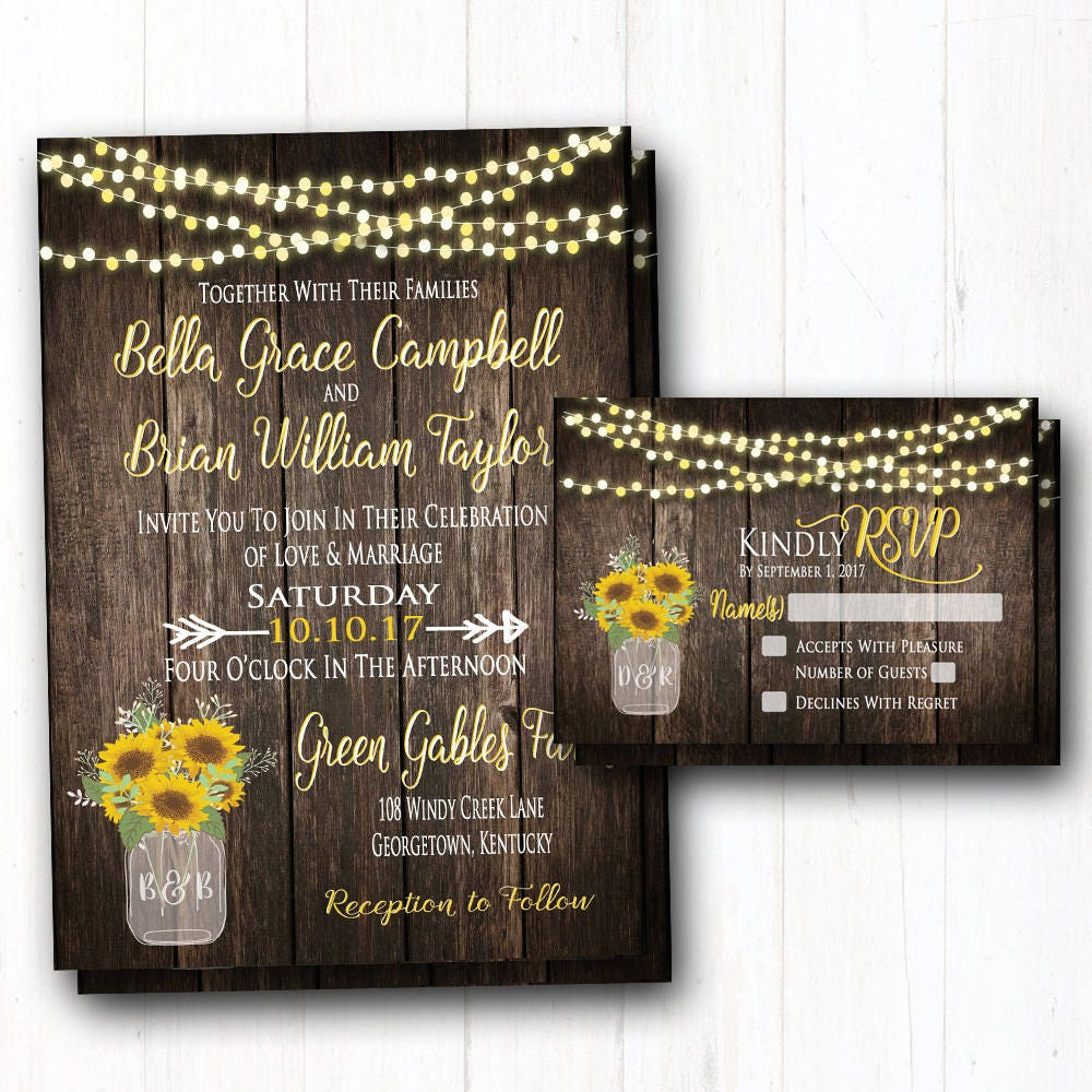 Rustic Summer Barn Weddings: Sunflowers Wedding Invitation Rustic Summer Wedding