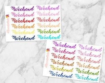 Weekend Banners (Script) in Solid Multi-color or Glitter | Perfect for Erin Condren Life Planers, Happy Planners, Recollections Planners