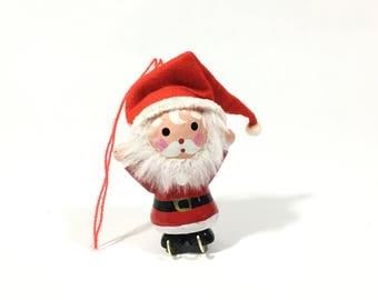 Vintage Santa Christmas Tree Ornament, Wood & Felt Santa Wearing Ice Skates Christmas Decoration