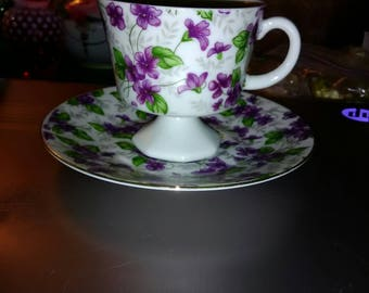 Inarco Purple Flowered Porceline Tea Cup and Saucer