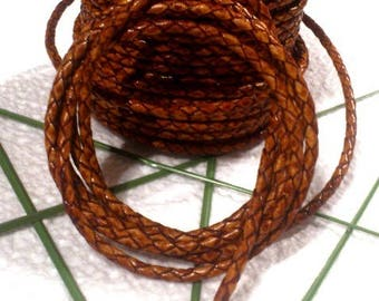 round leather cord braided whiskey 3.5 mm
