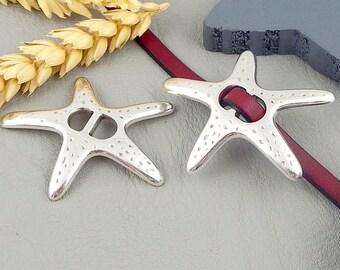 Interleave Starfish leather 5mm silver plated zamak