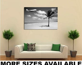 Wall Art Giclee Canvas Picture Print Gallery Wrap Ready to Hang Airplane Palm Beach bw 60x40 48x32 36x24 24x16 18x12 3.2