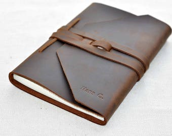 Leather A5 journal  notebook black brown  journal