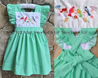Girls Dress Song Birds Embroidered Mint Green polka dot by Smocked A Lot Birthday Vintage