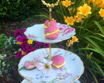 Limoges, Vintage Tea Party, Floral Plates, Shabby Chic, Three Tier, 3 Tier Tray, Tiered Stand, Antique Plates, Server, Cake Stand, Tiered