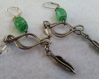 Earrings - Light Green Feather - 1 - 07-22-17