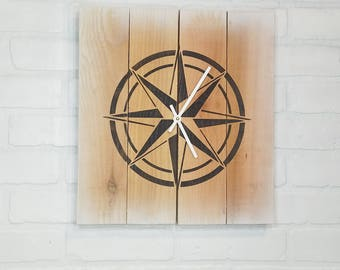 Large Wood Wall Clock - White Faded Nautical Star