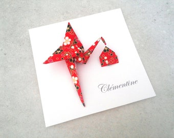 Girl boy origami birth - announcement card double red and black Japanese paper origami Stork / top