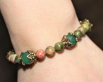 Stone bracelet, unakite, aventurine