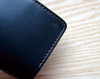 Passport wallet and Field Notes Cover in Black Horween Chromexcel leather  | Wallet Journal Notebook Passport Vanguard Cahier sleeve