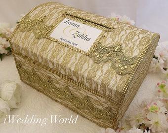 Wedding Card box/personalized wedding box/wedding cards box/gold and white/wedding money box/cardholder