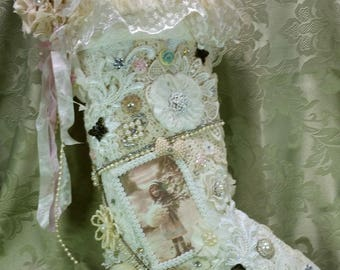 Cottage Chic Christmas Stocking, Shabby Chic Christmas Stocking, Lace Christmas Stocking, Christmas Stocking, Christmas Mantel Stocking