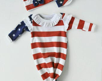 PATRIOTIC SET Ruffles Gown Blanket Headband Red White Blue Take Home Outfit Preemie-6mths Flag Baby Handmade Cheerful Ivy Knot Tie Bottom