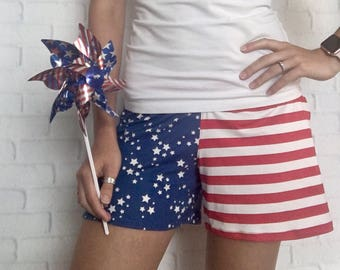 Labor Day Outfit - Labor Day Party - American Flag Clothing - Patriotic Clothing For Women -Patriotic Leggings -Stars & Stripes -Flag Shorts