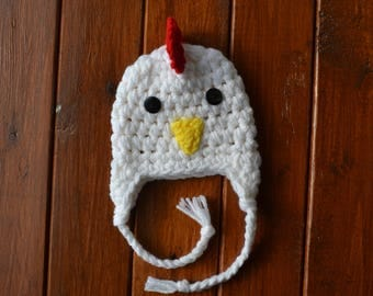 Crochet Rooster Hat, Crochet Chicken Hat, Rooster White Baby Hat Newborn Chicken Hat Baby Chick Hat Newborn Photo Prop Crochet Halloween Hat