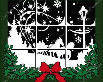 Christmas Window Graphgan 300x266***PATTERN ONLY***PDF File***Crochet Tunisian