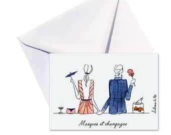 Evening folded card, envelope white.