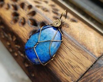 Lapis Lazuli Stone Pendant of Wisdom, Royalty, and Intellect