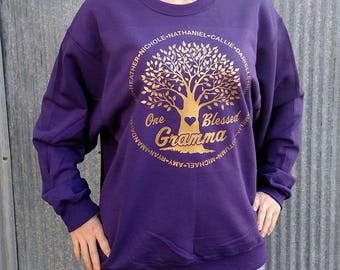 Personalized One Blessed Gramma Crewneck Sweatshirt With Names