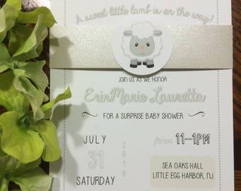 Gender Neutral Lamb Baby Shower Invite
