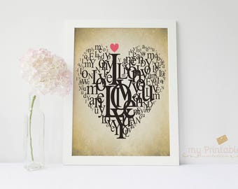 Heart Letters Wall Art / Love Poster Part 33