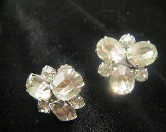Vintage signed Coro screw back rhinestone earrings