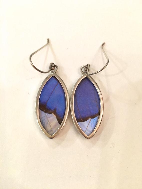 BLUE MORPHO Butterfly Wing Earrings// Collaged Butterfly Wing Jewelry// AUTHENTIC Butterfly Wings// Eco Friendly Jewelry// Statement Jewelry