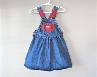 Vintage 1980's OshKosh B Gosh Jean Jumper / Blue Cotton Denim Toddler Overall Halter Shorts Size 3T Young Girl