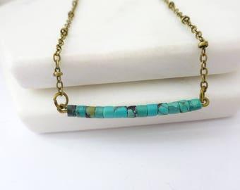 Turquoise necklace, turquoise bar necklace, Boho turquoise  jewelry, weddings