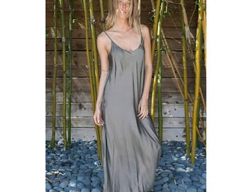 Sale 25% Off PLUS SIZE grey color silk slip bias dress