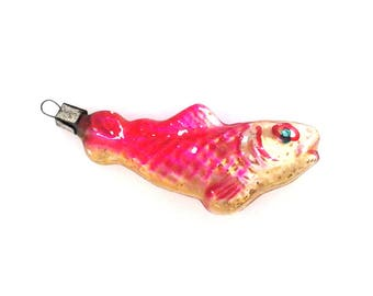 Fish / Vintage soviet glass Christmas tree decoration / Christmas ornaments / Made in USSR, 1950s
