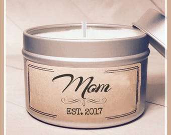 Mom Est. Candle Gift - New Mom Gift   Mom Gift   Mother Gift   Send a Gift   Personalized Grandma Gift   New Mama Gift   New Baby gift