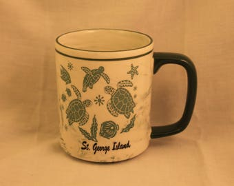 St. George Island Green and White Marble Glass Mug with Turtles and Sea Life Travel Souvenir Coffee Tea Cup Gift