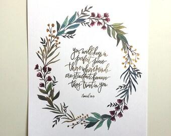 Isaiah 26:3 Hand Lettered Art Print
