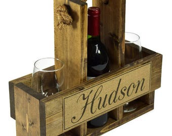 Personalized Wine Caddy - Wine Carrier - Wine Tote - Wine Lover Gift