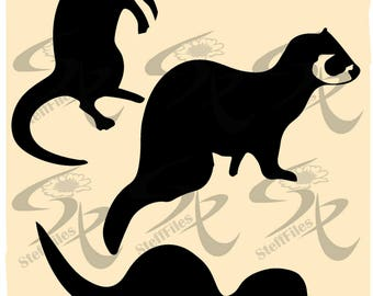 0784_FERRET_silhouette_vector_clipart, Animals,SVG,DXF,eps,ai,png,jpg, Digital image, graphical