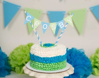 CUSTOM flag name cake topper in your choice of colors