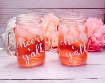 Set Of 9 Personalized Mason Jars | Bridal Party Gifts | Baby Shower Hostess  Gifts |