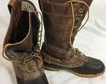 """Vintage L.L. Bean Duck Boots Maine Hunting Shoe Lace Up 5M Rubber & Leather 11"""" Tall"""