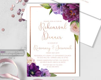 Purple Rehearsal Dinner Invitation / Purple Flowers, Anemone, Peony, Ranunculus, Rose Gold ▷ Printed Heavy Paper {or} Printable