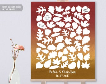 Fall Wedding Guest Book Alternative / Fall Leaves, Maple Leaf, Woodland Guest Book / Fall Wedding Watercolor ▷ Canvas, Paper {or} Printable