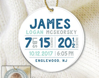 Birth Stats Ornament / Christmas Ornament / My First Christmas / Personalized Baby Ornament / My First Christmas Gift ▷Navy Blue, Mint, Gray