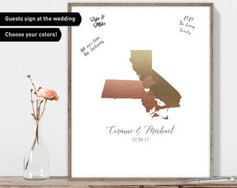 Wedding Guest Book Alternative / Love Map: Boston, Massachusetts & San Francisco, California State Map / Faux Metallic Rose Gold Guestbook