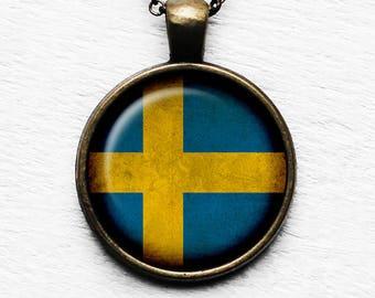 Sweden Swedish Flag Pendant & Necklace