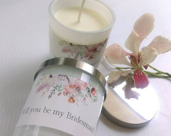Bridesmaid Soy Candle Gift, Will you be my Bridesmaid Candle, Bridesmaid Soy Candle, Bridesmaid Candle Present