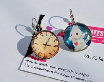 """earring asymmetric cabochon clock and rabbit """"style alice"""""""